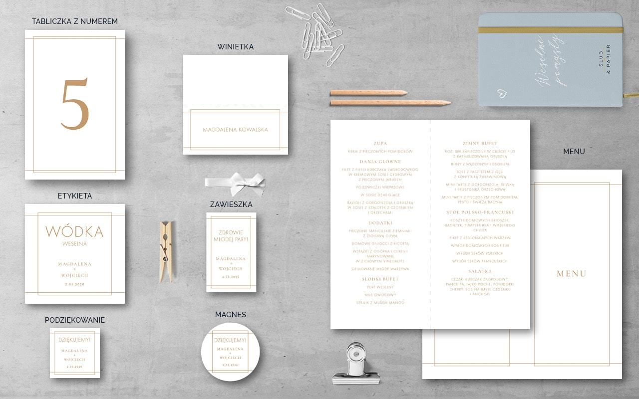Dodatki weselne do zaproszenia ślubnego Minimalistyczne złote