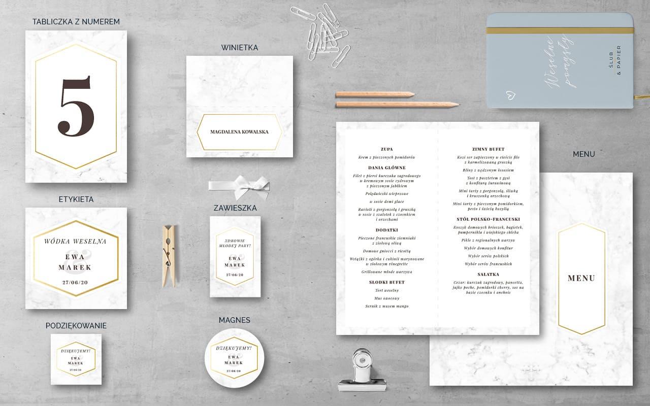 Dodatki weselne do zaproszenia ślubnego Minimalistyczny marmur