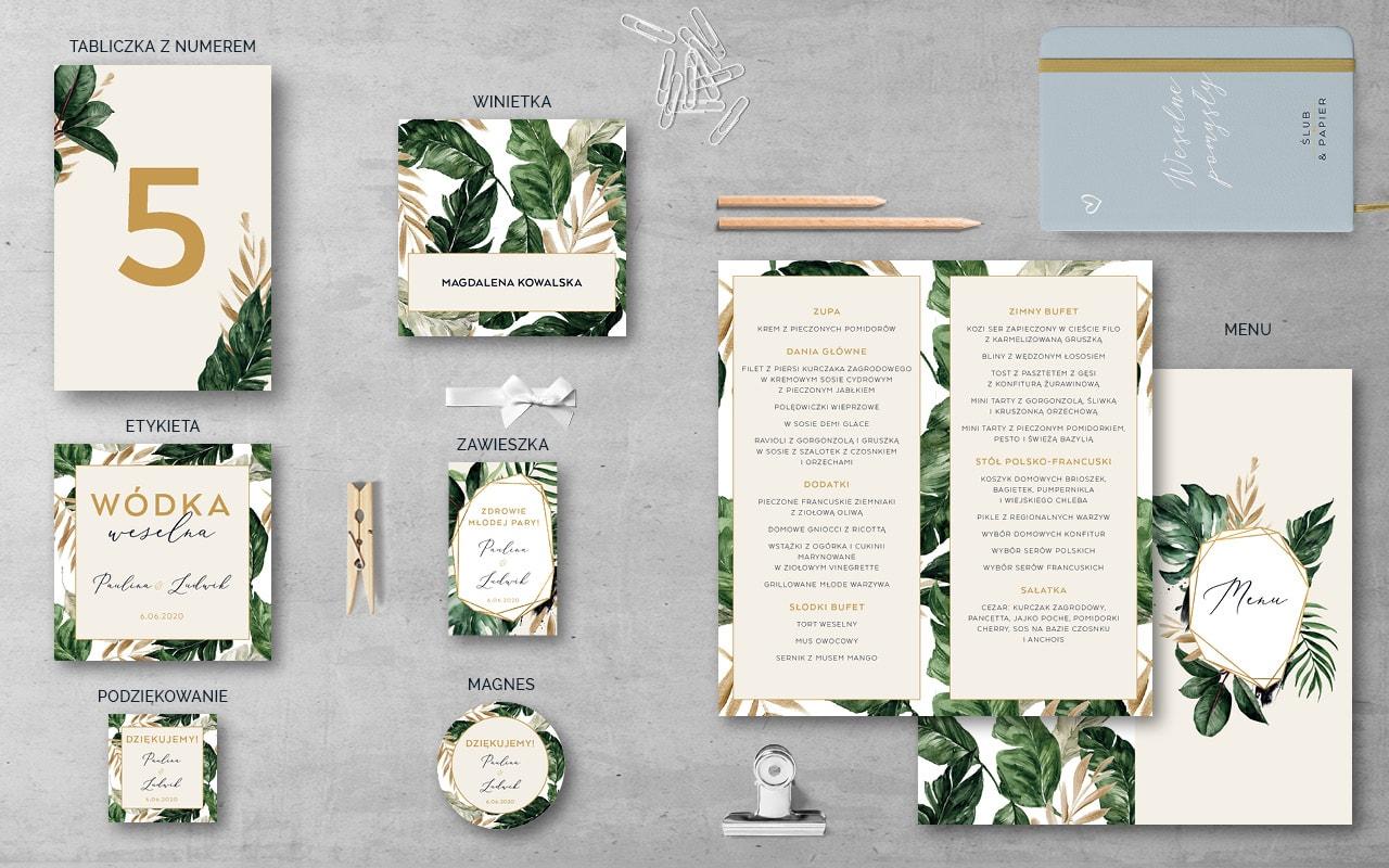 Dodatki weselne do zaproszenia ślubnego Tropikalne liście