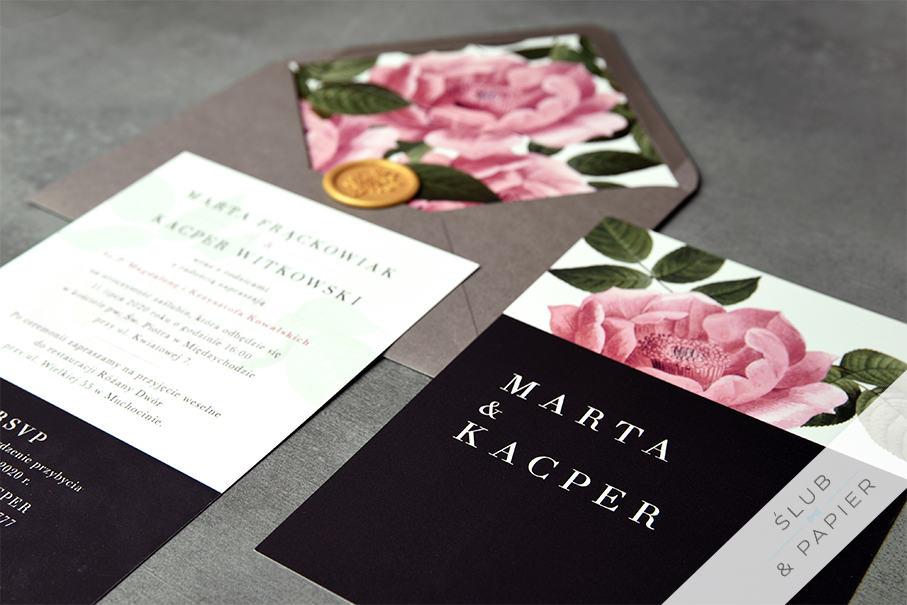 Zaproszenie ślubne Elegancka piwonia - leżące