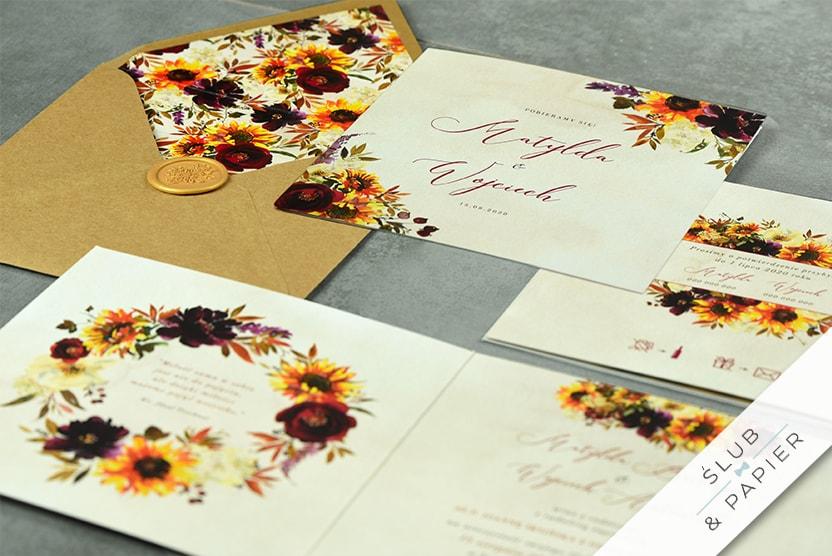 Jesienne Kwiaty - zaproszenia ślubne - leżące