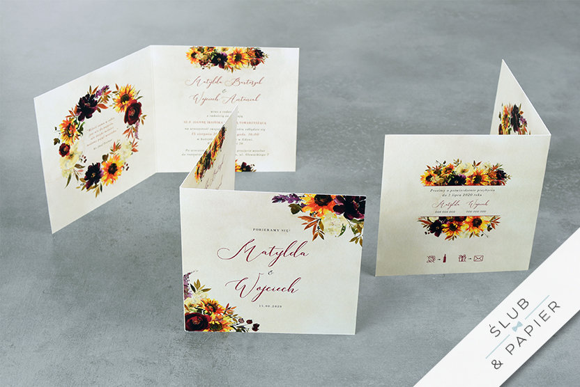 Jesienne Kwiaty - zaproszenia ślubne - stojące