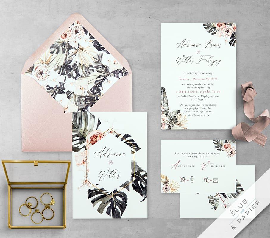 Kwiaty i monstera - zaproszenie ślubne - zdjęcie główne leżące