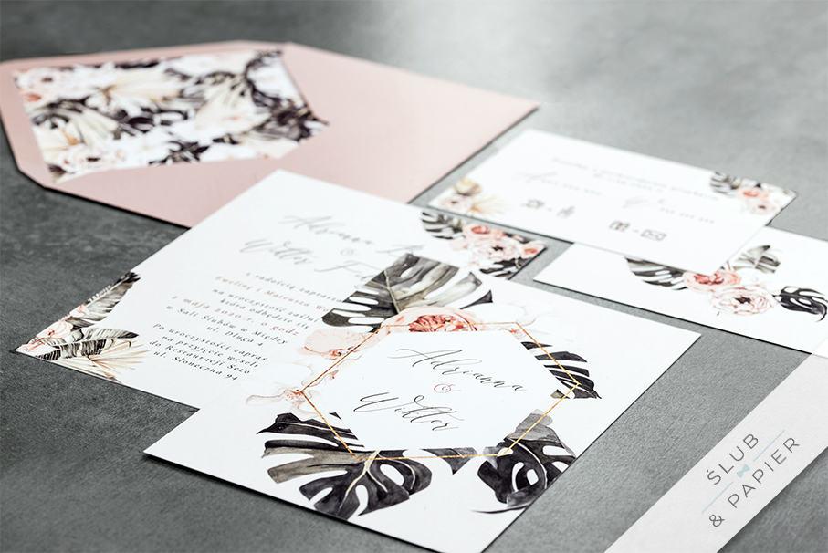 Kwiaty i monstera - zaproszenie ślubne - zdjęcie główne