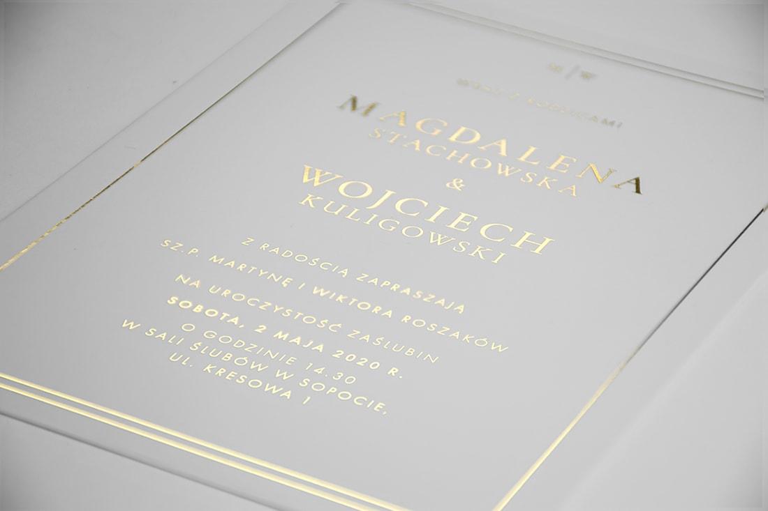 Minimalistyczne złote zaproszenie ślubne
