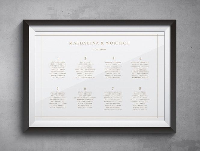 Plan stołów do zaproszenia ślubnego Minimalistyczne złote