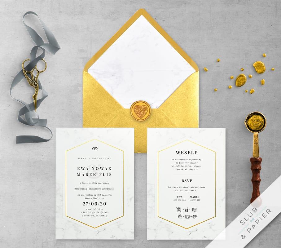 Minimalistyczny marmur - zaproszenia ślubne z wklejką