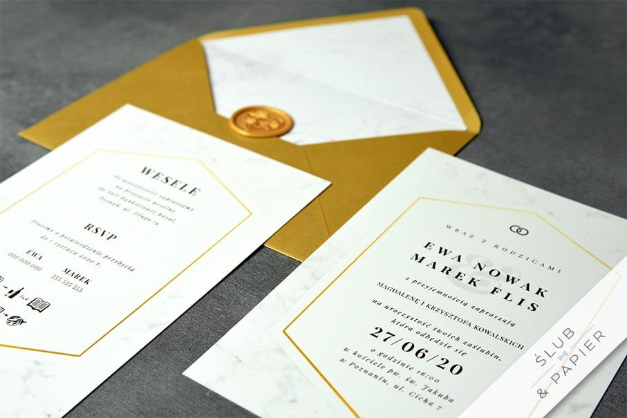 Zaproszenia ślubne Minimalistyczny marmur - zdjęcie leżące