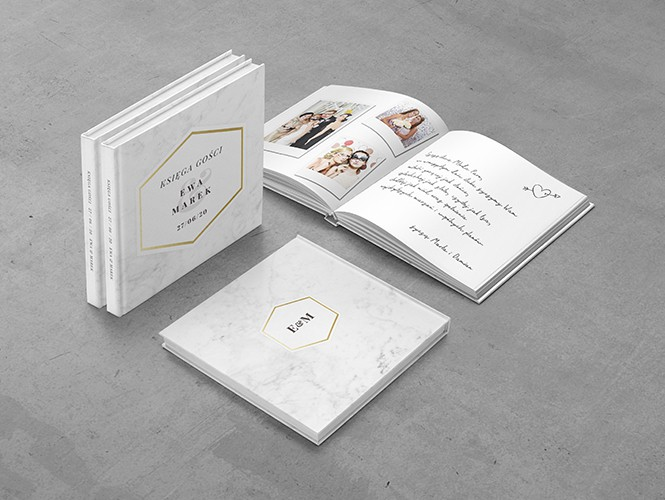 Księga gości do zaproszenia Minimalistyczny Marmur