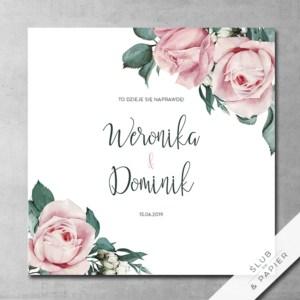Zaproszenie ślubne Pudrowe róże