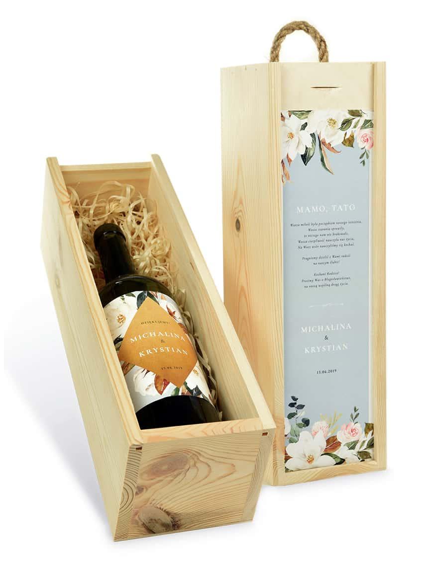 Drewniana skrzynka na wino - podziękowanie dla świadka lub rodziców