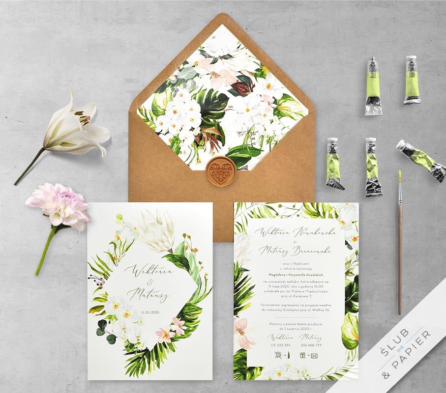 Zaproszenia ślubne Tropikalne kwiaty - główne zdjęcie