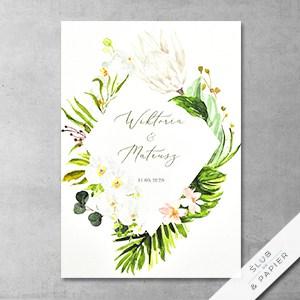 Tropikalne kwiaty - główne zdjęcie zaproszenia slubnego
