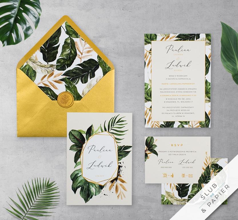 Zaproszenie ślubne Tropikalne liście