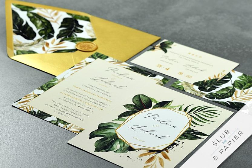 Zaproszenie ślubne Tropikalne liście 2