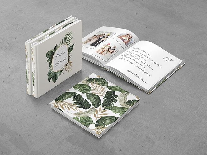 Księga gości do zaproszenia ślubnego Tropikalne liście