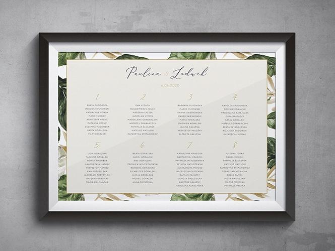 Plan stołów do zaproszenia ślubnego Tropikalne liście