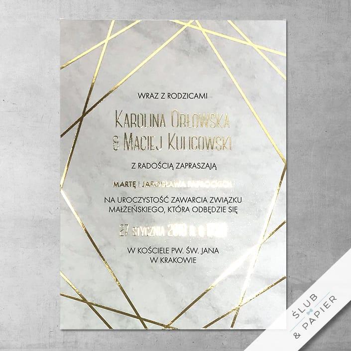 Zaproszenie ślubne złoty marmur