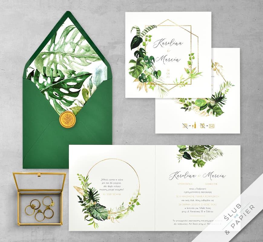 Akwarelowe liście - zaproszenie ślubne