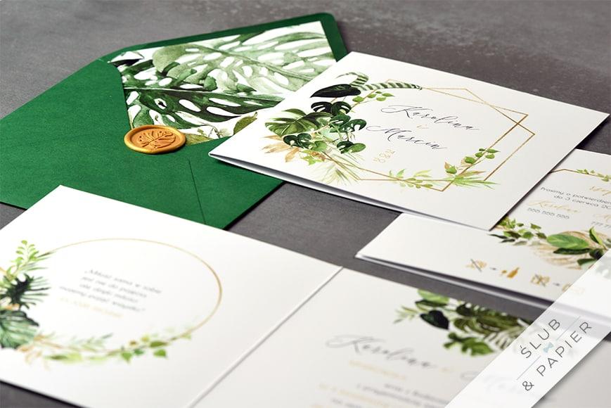 Akwarelowe liście - zaproszenie ślubne - leżące