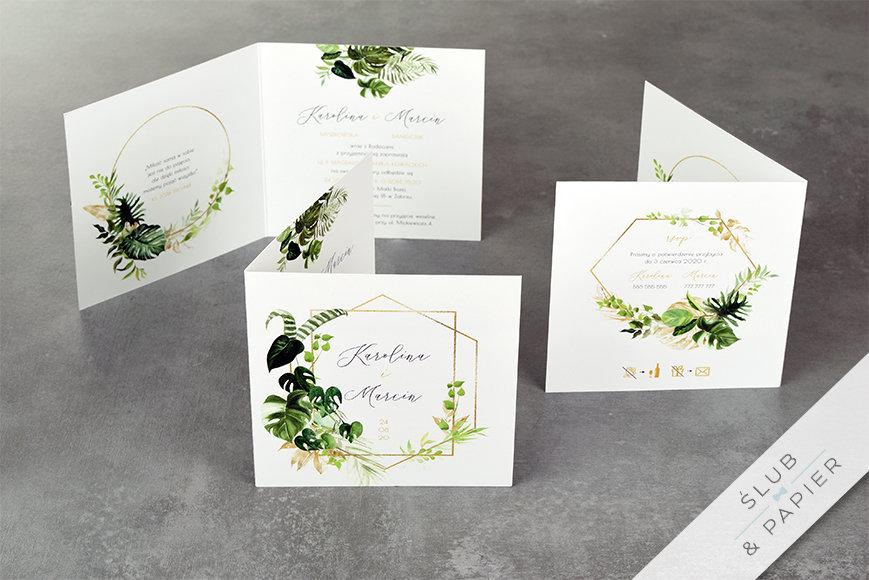 Akwarelowe liście - zaproszenie ślubne - stojące