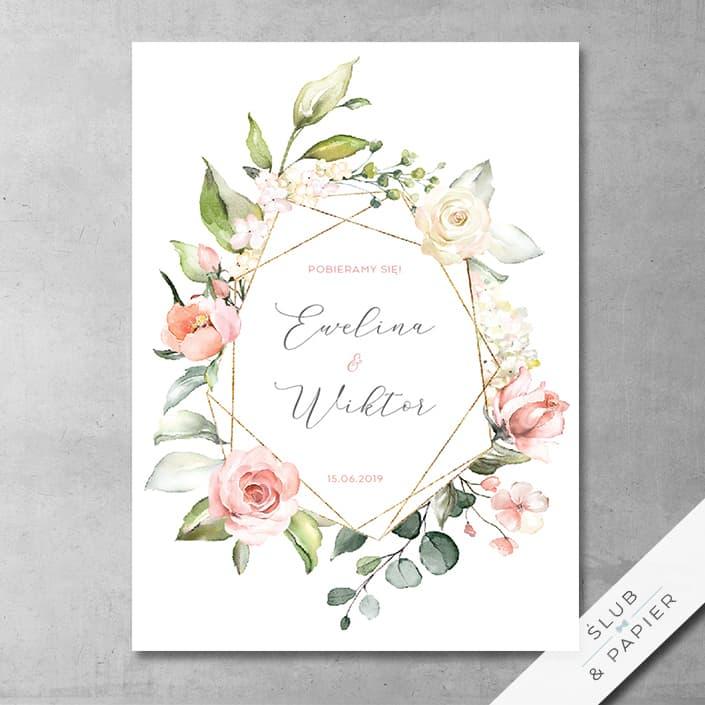 Akwarelowe Róże Zaproszenie ślubne