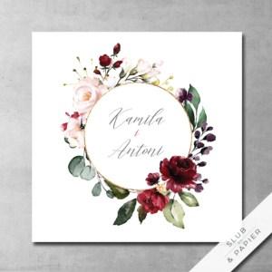 Zaproszenie ślubne Bordowe kwiaty