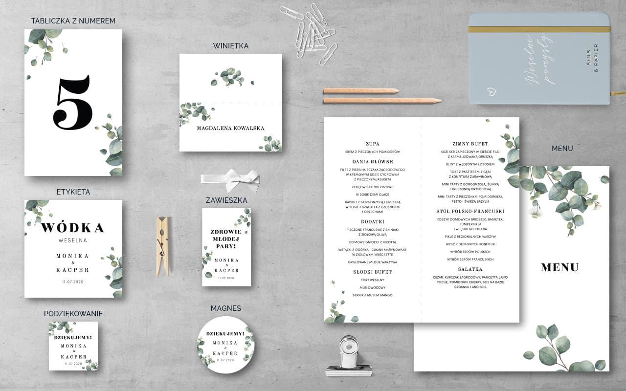 Dodatki weselne do projektu Gałązki eukaliptusa