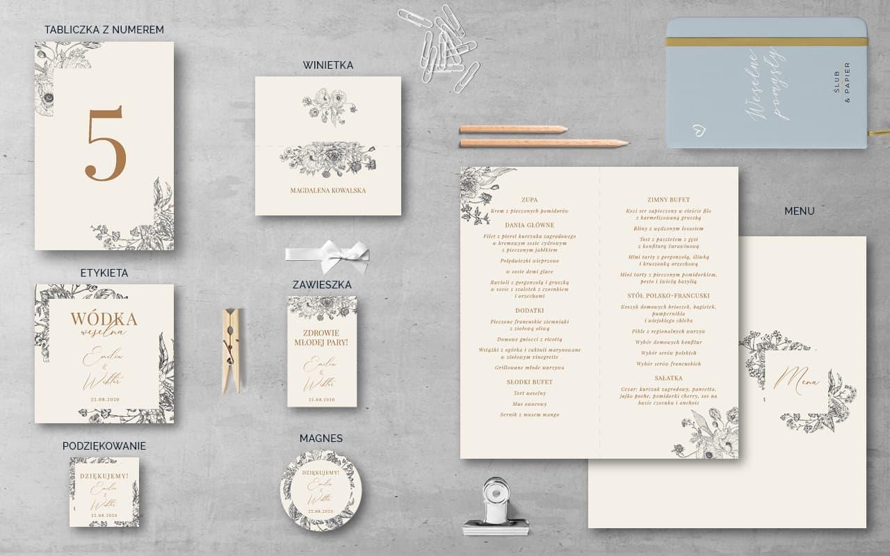 Dodatki weselne do projektu Kwiaty retro