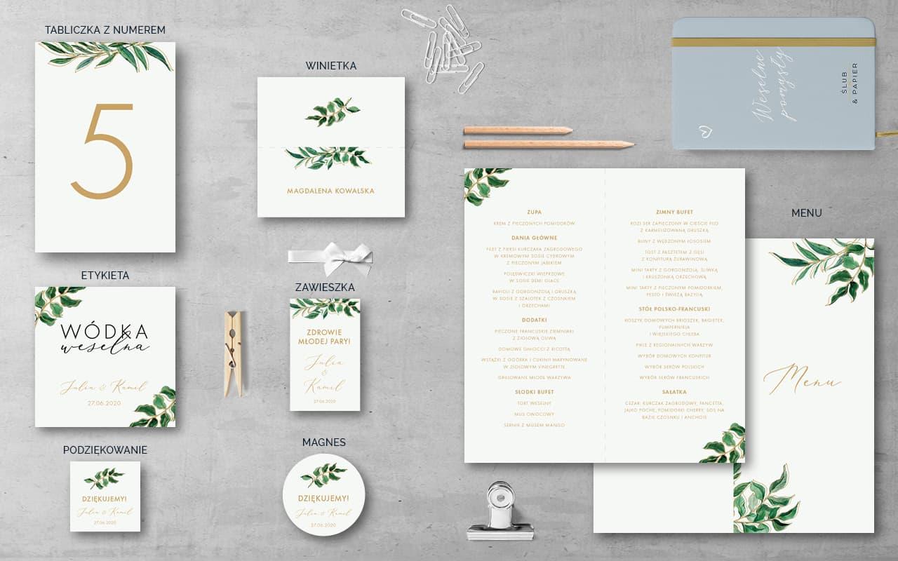 Dodatki weselne do zaproszenia ślubnego Złote liście