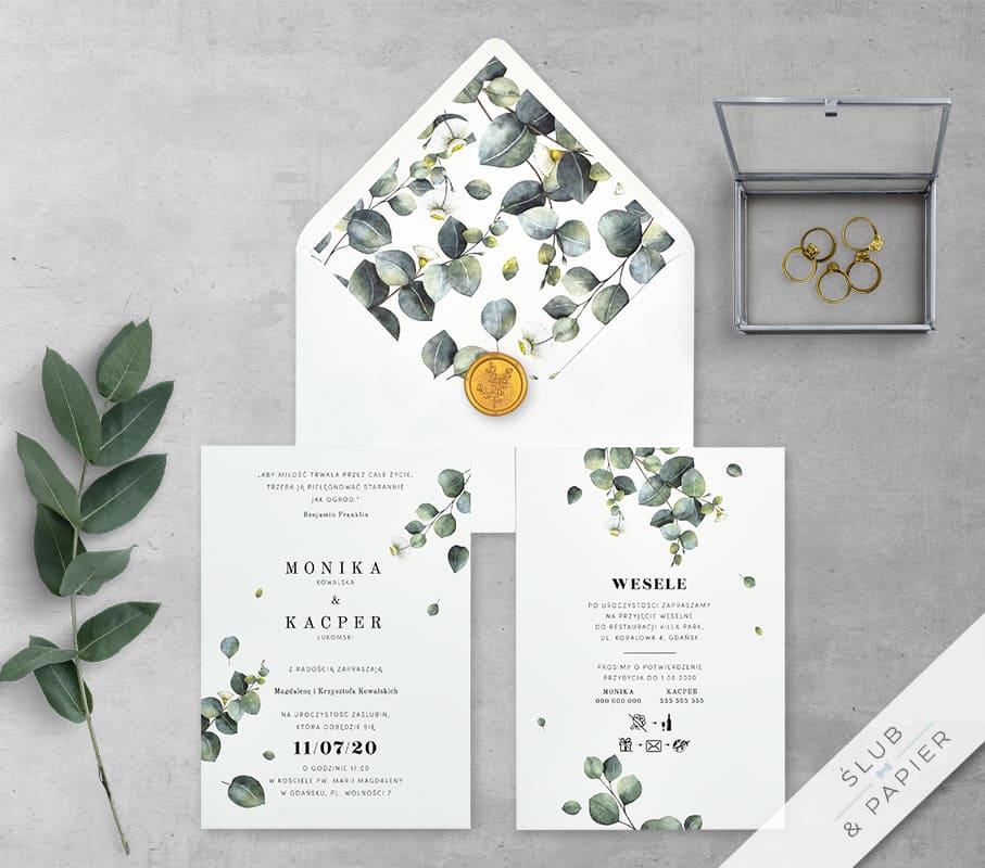 Gałązki eukaliptusa - zaproszenie ślubne