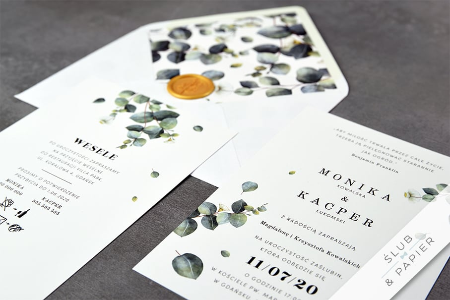 Gałązki eukaliptusa - zaproszenie ślubne leżące