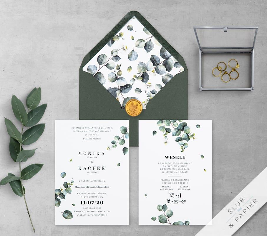 Eukaliptusowe gałązki - zaproszenie ślubne z góry