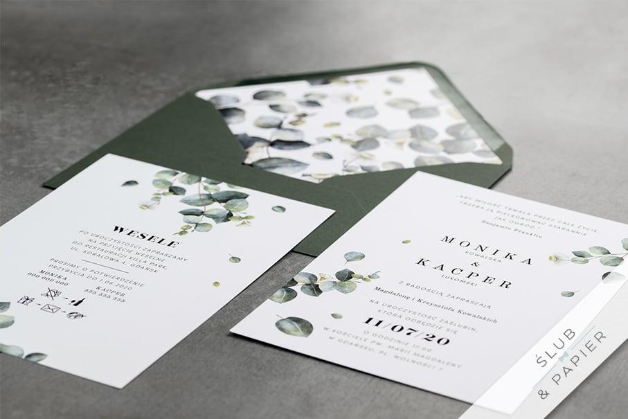 Eukaliptusowe gałązki - zaproszenie ślubne leżące