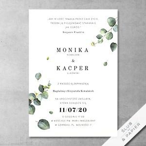 Zaproszenie ślubne Gałązki eukaliptusa - zdjęcie poglądowe
