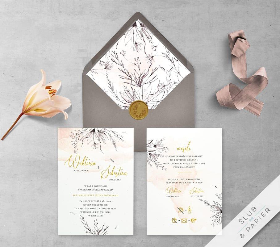 Gałązki i kwiaty - zaproszenie ślubne - zdjęcie główne