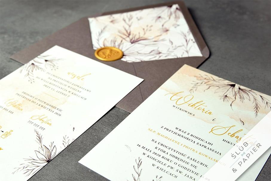Liść monstery - zaproszenie ślubne - zdjęcie leżące