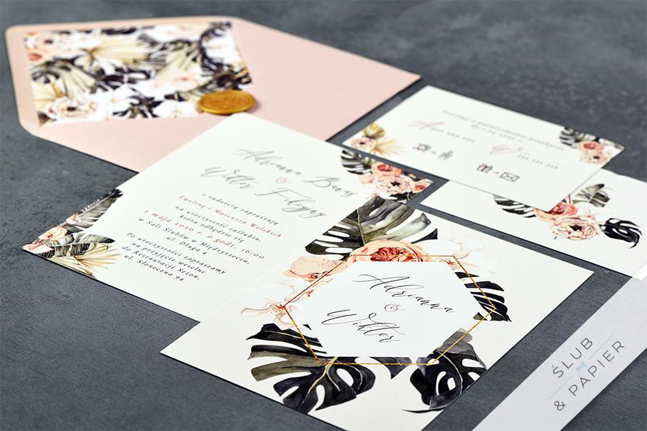 Kwiaty i monstera - zaproszenie ślubne - zdjęcie leżące