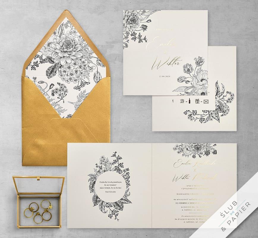 Kwiaty retro - zaproszenie ślubne - zdjęcie główne