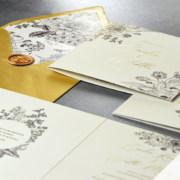 Kwiaty retro - zaproszenie ślubne - zdjęcie leżące