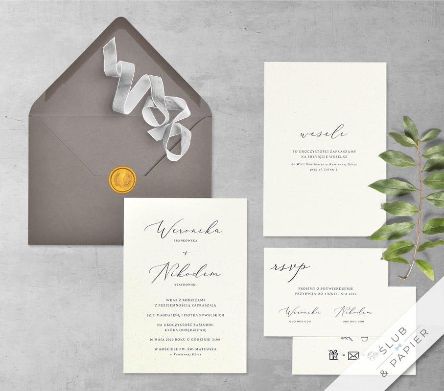 Minimalistyczne - zaproszenie ślubne