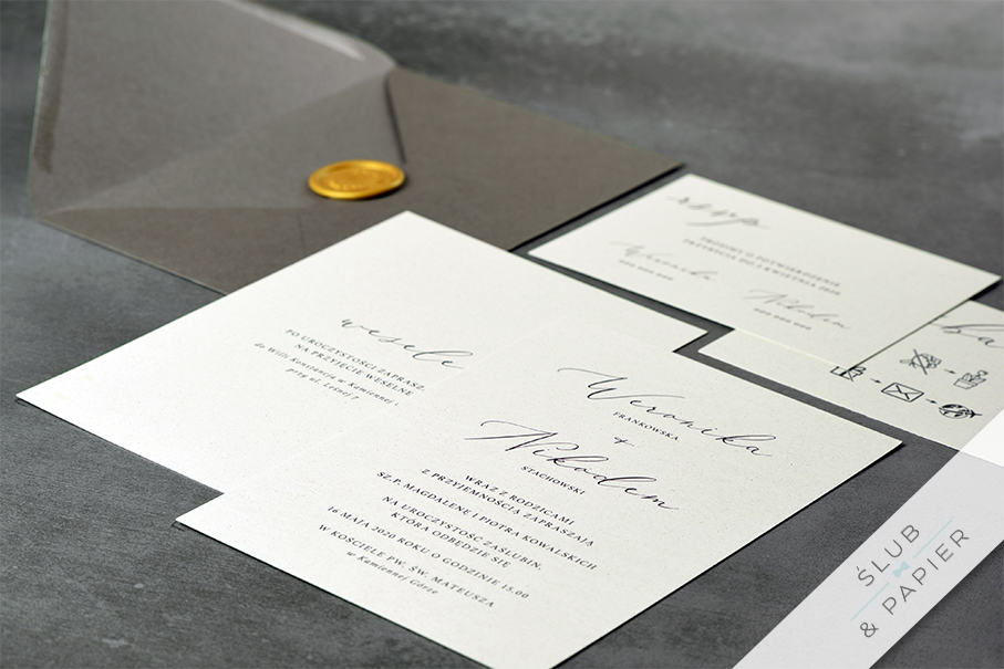 Minimalistyczne - zaproszenie ślubne - leżące