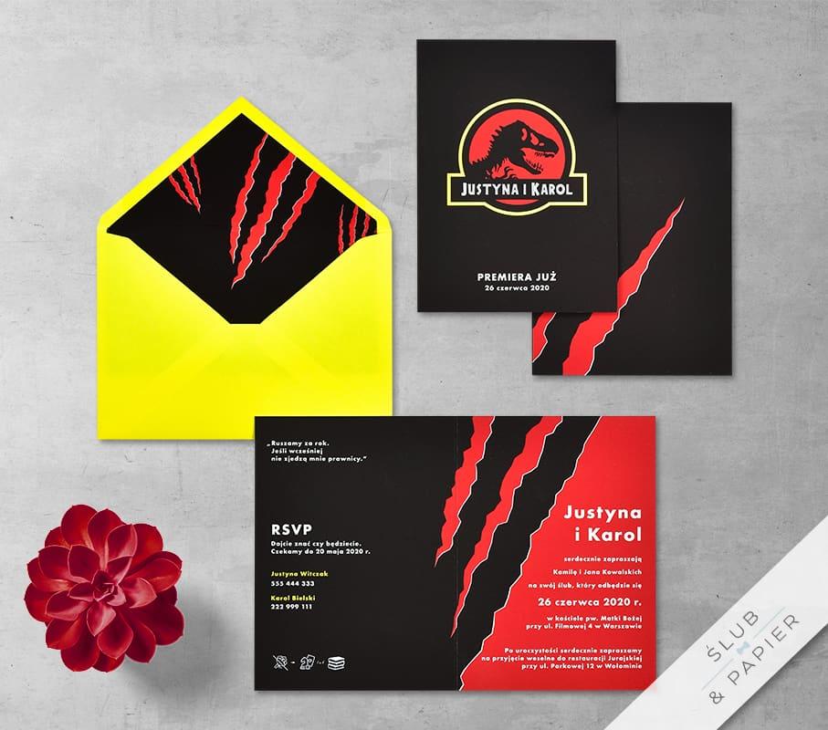 Park dinozaurów - zaproszenie ślubne - zdjęcie główne