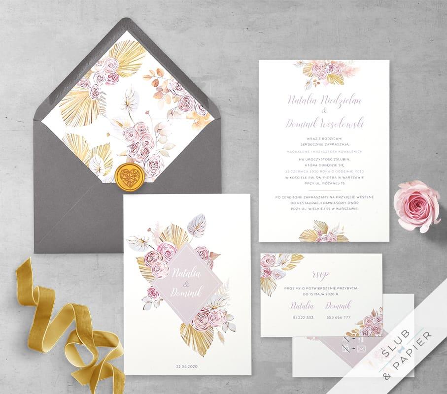 Róże i palmy - zaproszenie ślubne - zdjęcie główne