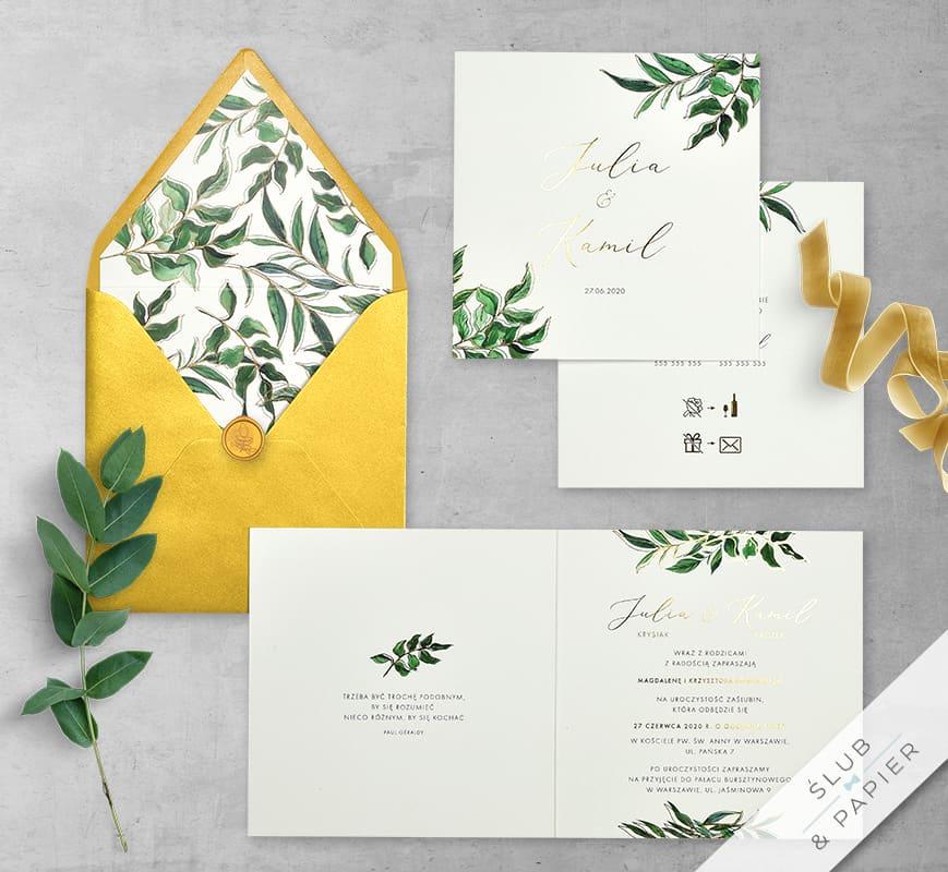 Złote liście - zaproszenia ślubne - komplet