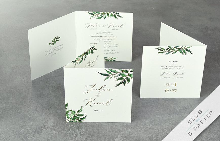 Złote liście - zaproszenia ślubne - stojące