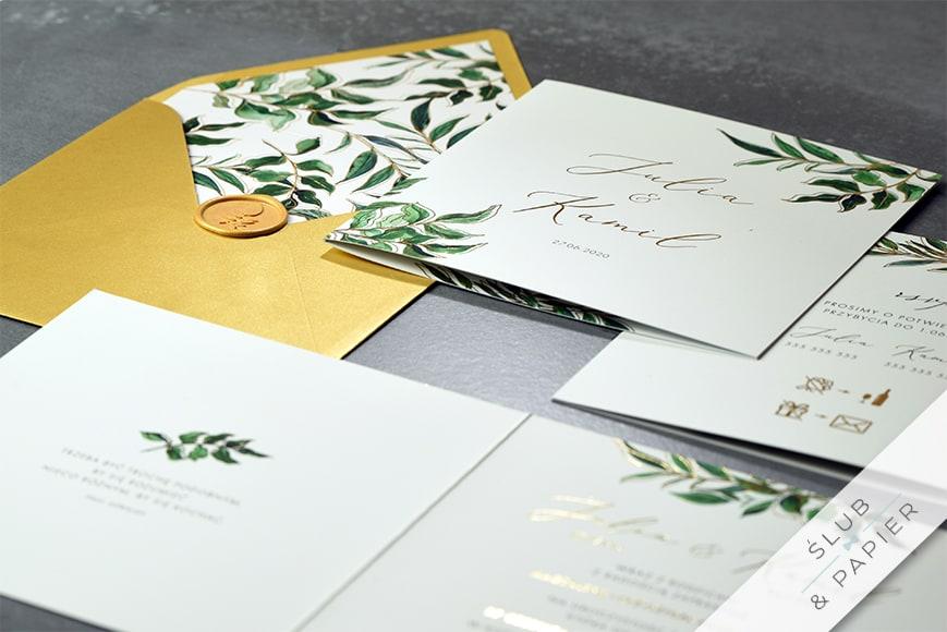 Złote liście - zaproszenia ślubne - leżące
