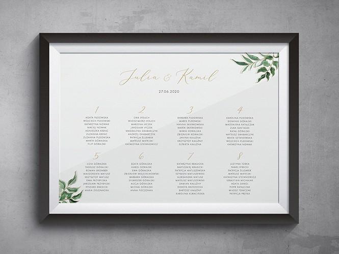 Plan stołów do zaproszenia ślubnego Złote liście