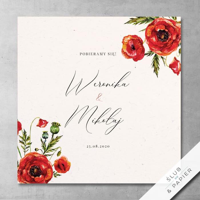Zaproszenie ślubne Polne maki