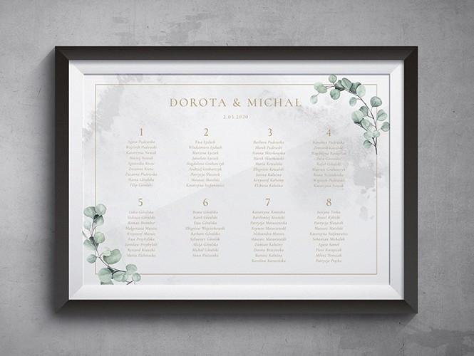 Złoty eukaliptus na marmurze - plan rozsadzenia gości na wesele